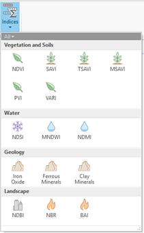 vegetation indices drop-down